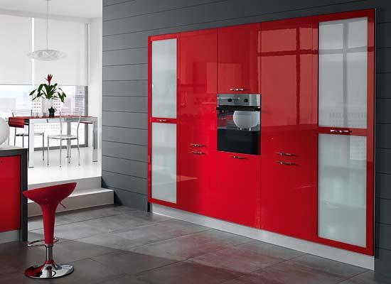 Cucine rosse cucina moderna in acciaio inox in laminato for Cucine rosse